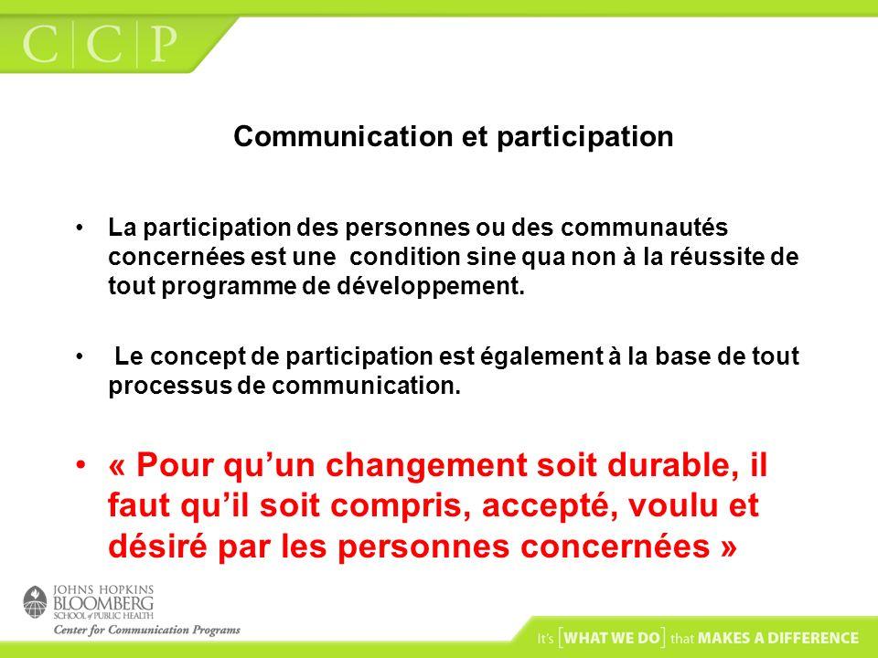 Communication et participation La participation des personnes ou des communautés concernées est une condition sine qua non à la réussite de tout progr