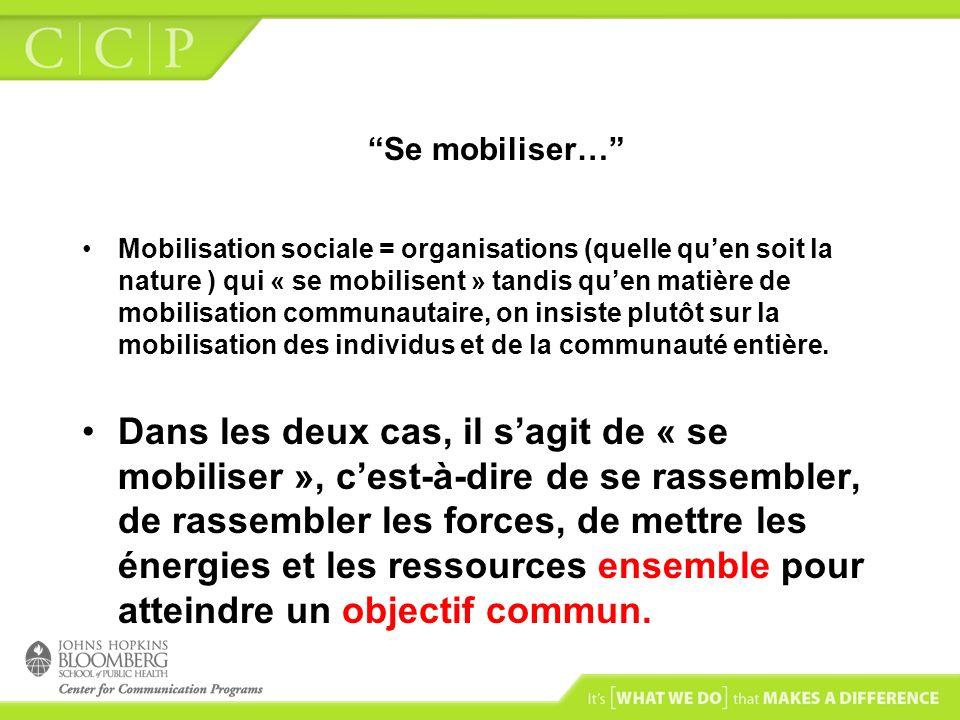 Se mobiliser… Mobilisation sociale = organisations (quelle quen soit la nature ) qui « se mobilisent » tandis quen matière de mobilisation communautai
