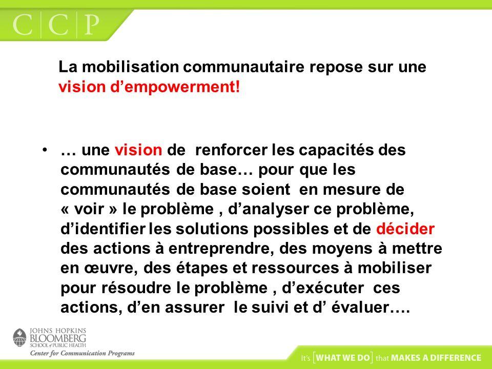 La mobilisation communautaire repose sur une vision dempowerment! … une vision de renforcer les capacités des communautés de base… pour que les commun