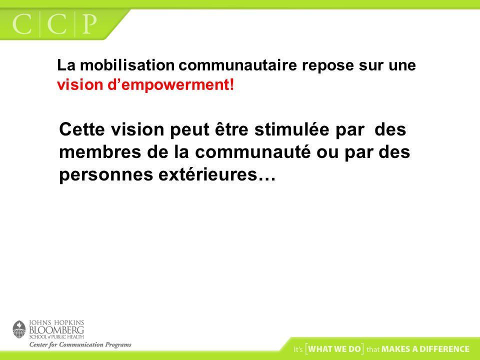 La mobilisation communautaire repose sur une vision dempowerment! Cette vision peut être stimulée par des membres de la communauté ou par des personne