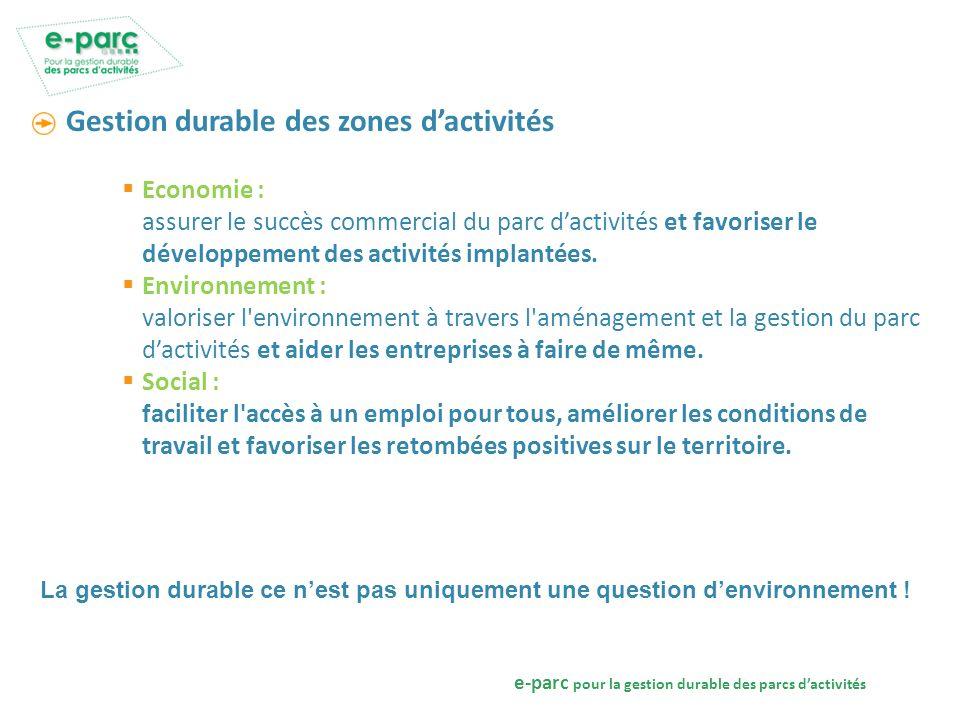 e-parc pour la gestion durable des parcs dactivités La gestion durable des parcs dactivités Politique : un projet commun dans une logique damélioration continue.