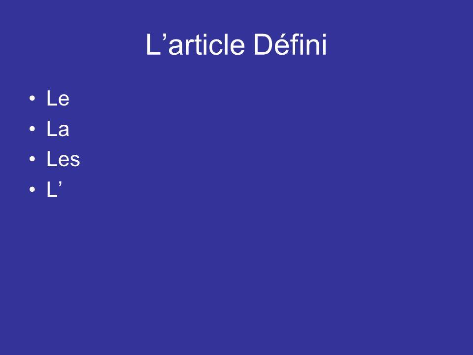Larticle Défini/Partitif 1.Je voudrais _____ eau, sil vous plaît.