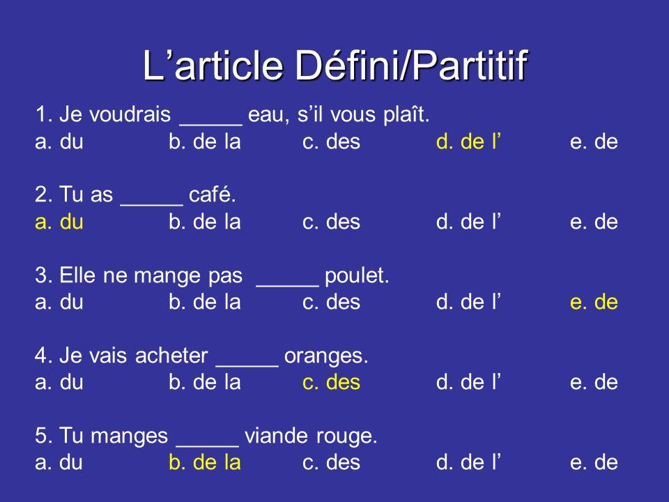 Larticle Défini/Partitif 1. Je voudrais _____ eau, sil vous plaît.
