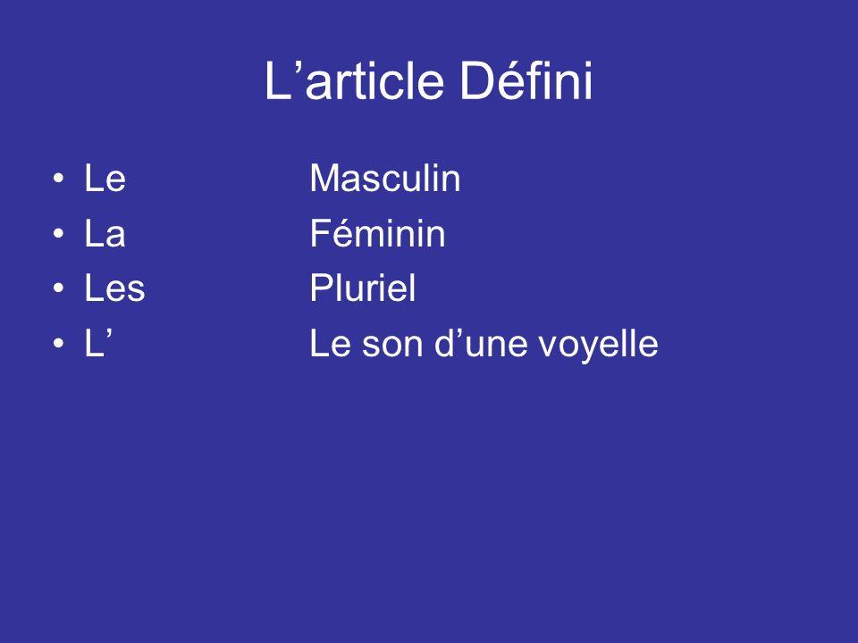Larticle Défini LeMasculin LaFéminin LesPluriel LLe son dune voyelle