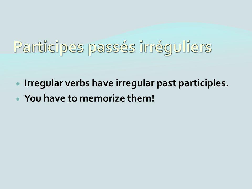 Irregular verbs have irregular past participles. You have to memorize them!