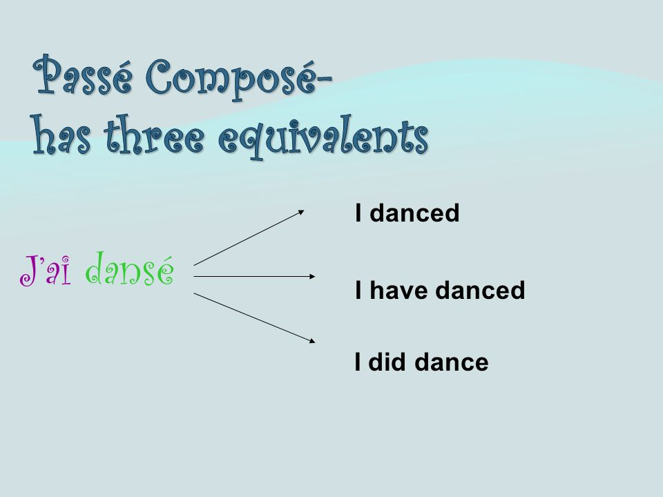 Jai dansé I danced I have danced I did dance