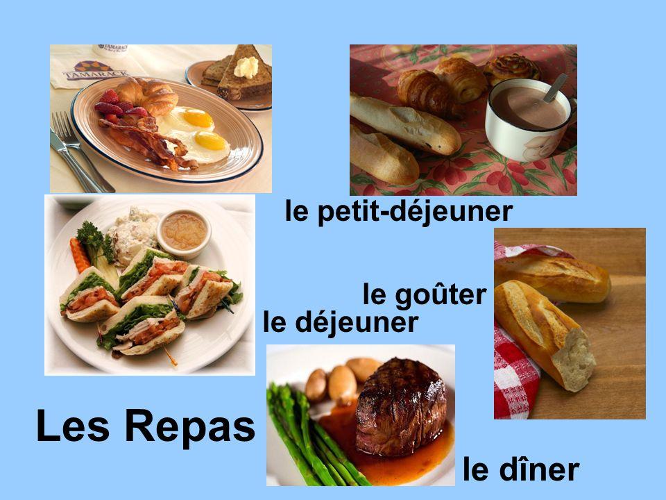 Les Repas le petit-déjeuner le déjeuner le dîner le goûter