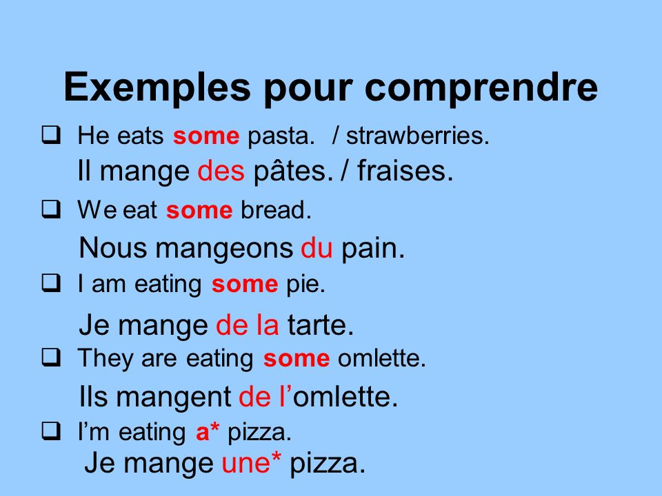 Exemples pour comprendre He eats some pasta./ strawberries.