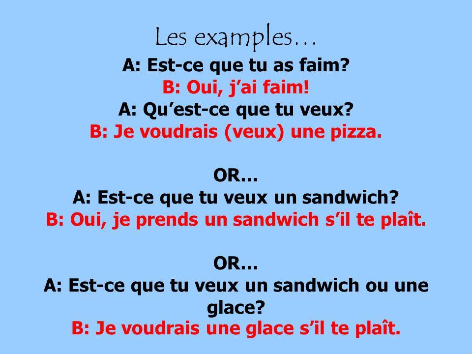 Les examples… A: Est-ce que tu as faim? B: Oui, jai faim! A: Quest-ce que tu veux? B: Je voudrais (veux) une pizza. OR… A: Est-ce que tu veux un sandw
