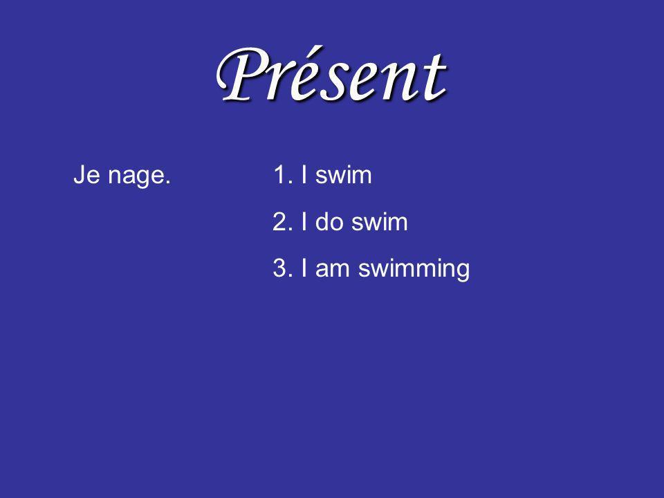 Présent Je nage.1. I swim 2. I do swim 3. I am swimming Noubliez pas– Je suis en train de nager.