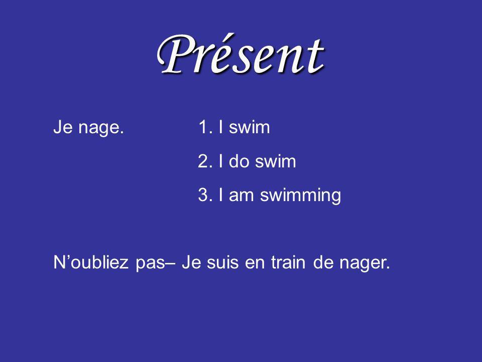 Imparfait was Je nageais.1. I was swimming. used 2. I used to swim. would 3. I would swim.