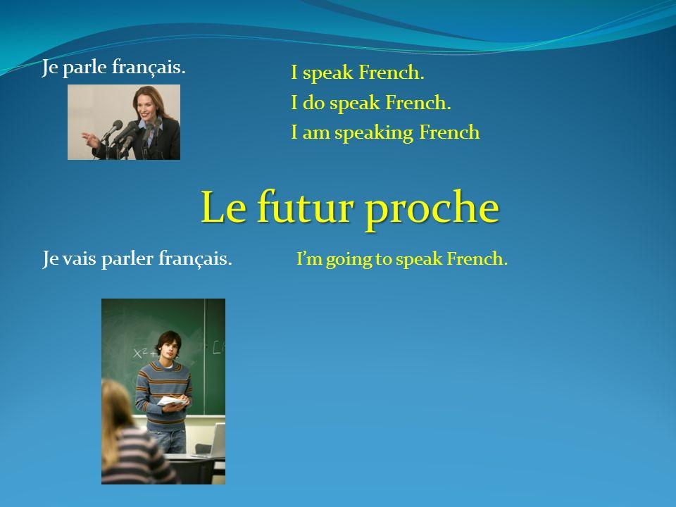 Je parle français. I speak French. I do speak French. I am speaking French Je vais parler français. Im going to speak French. Le futur proche