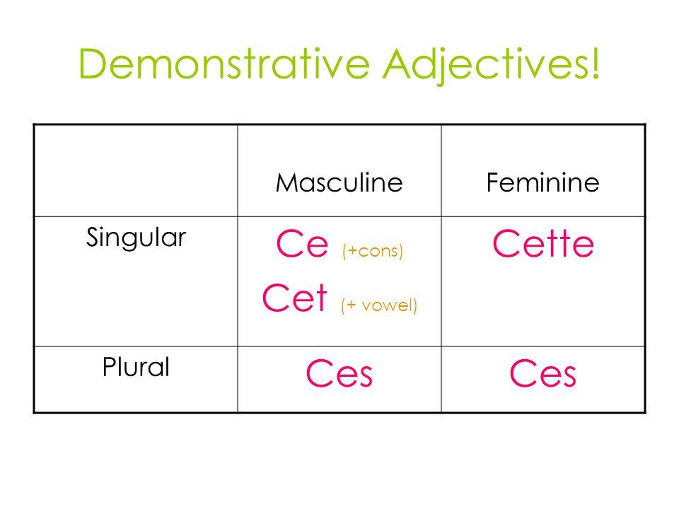 Demonstrative Adjectives! MasculineFeminine Singular Ce (+cons) Cet (+ vowel) Cette Plural Ces