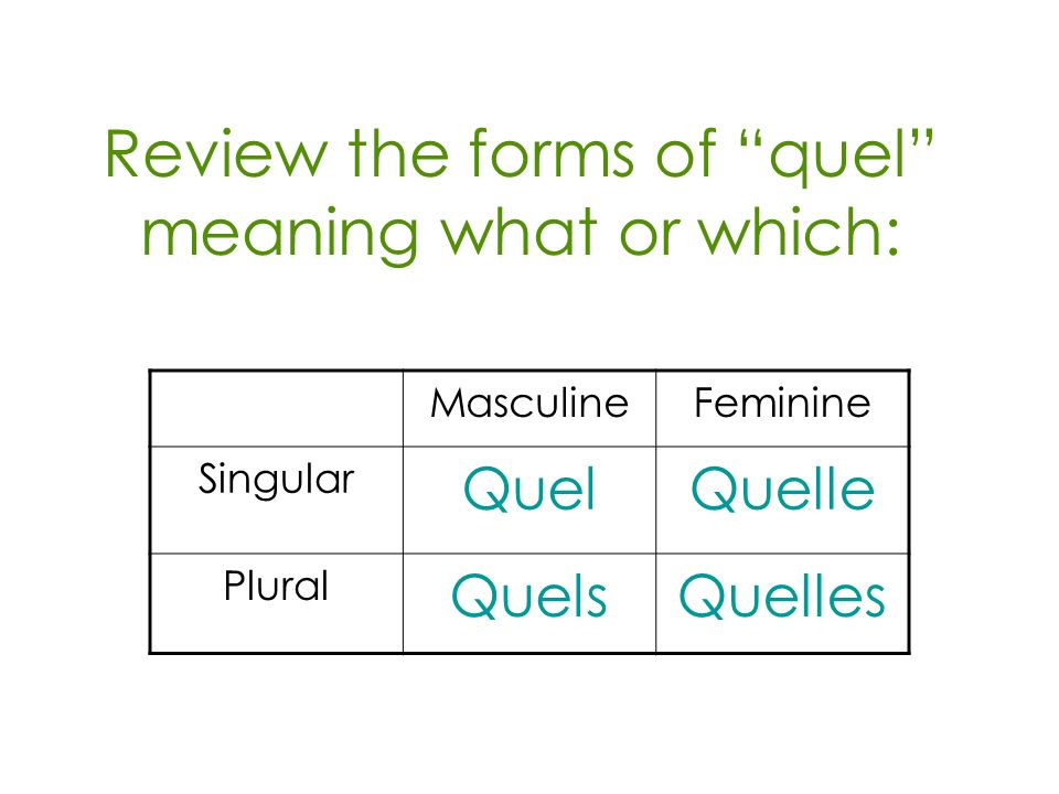 Review the forms of quel meaning what or which: MasculineFeminine Singular QuelQuelle Plural QuelsQuelles