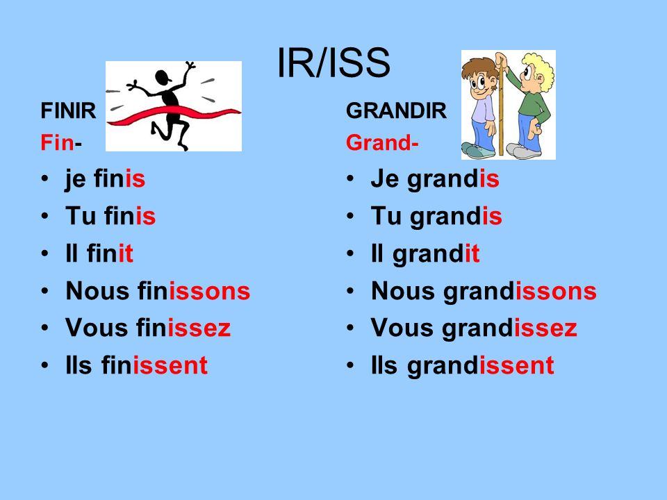 IR/ISS FINIR Fin- je finis Tu finis Il finit Nous finissons Vous finissez Ils finissent GRANDIR Grand- Je grandis Tu grandis Il grandit Nous grandisso