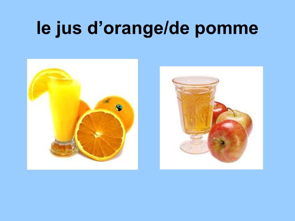 Some orange juice, please. Du jus dorange, sil vous plait/ sil te plait.