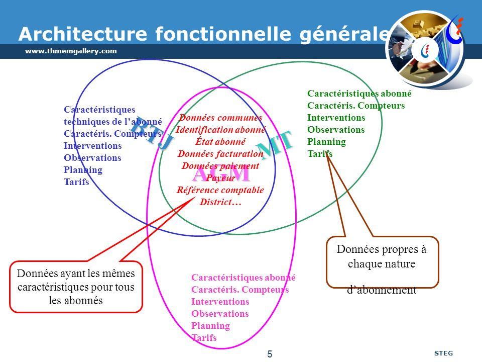 www.thmemgallery.com STEG 5 MT AGM Architecture fonctionnelle générale BTJ Caractéristiques techniques de labonné Caractéris. Compteurs Interventions