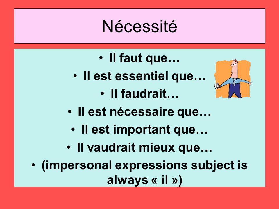 Nécessité Il faut que… Il est essentiel que… Il faudrait… Il est nécessaire que… Il est important que… Il vaudrait mieux que… (impersonal expressions subject is always « il »)
