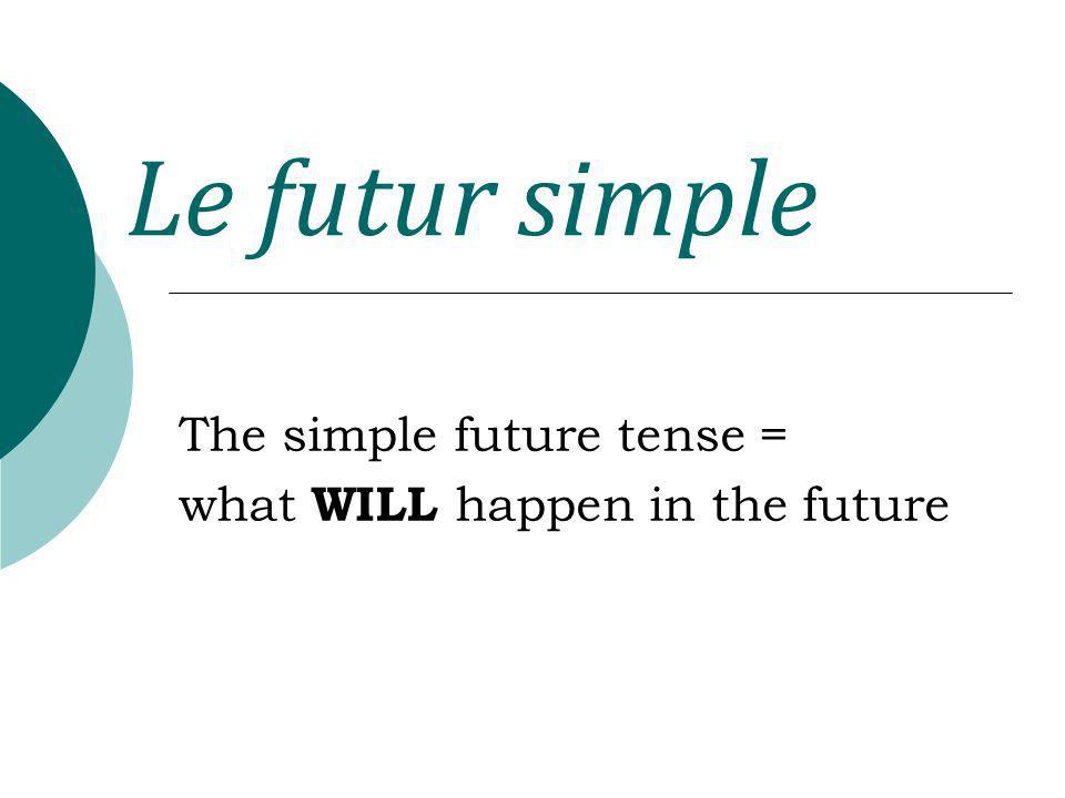 Le futur simple The simple future tense = what WILL happen in the future