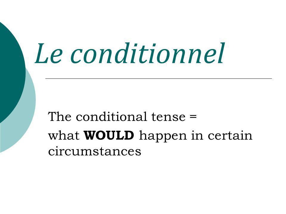 Le conditionnel forming the STEM Same as future stems.