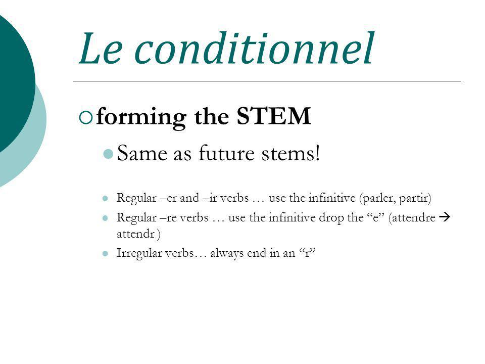 Le conditionnel forming the STEM Same as future stems! Regular –er and –ir verbs … use the infinitive (parler, partir) Regular –re verbs … use the inf