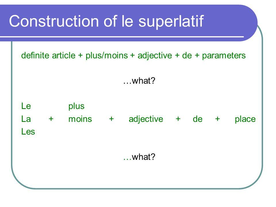 Construction of le superlatif definite article + plus/moins + adjective + de + parameters …what? Le plus La + moins + adjective + de + place Les …what