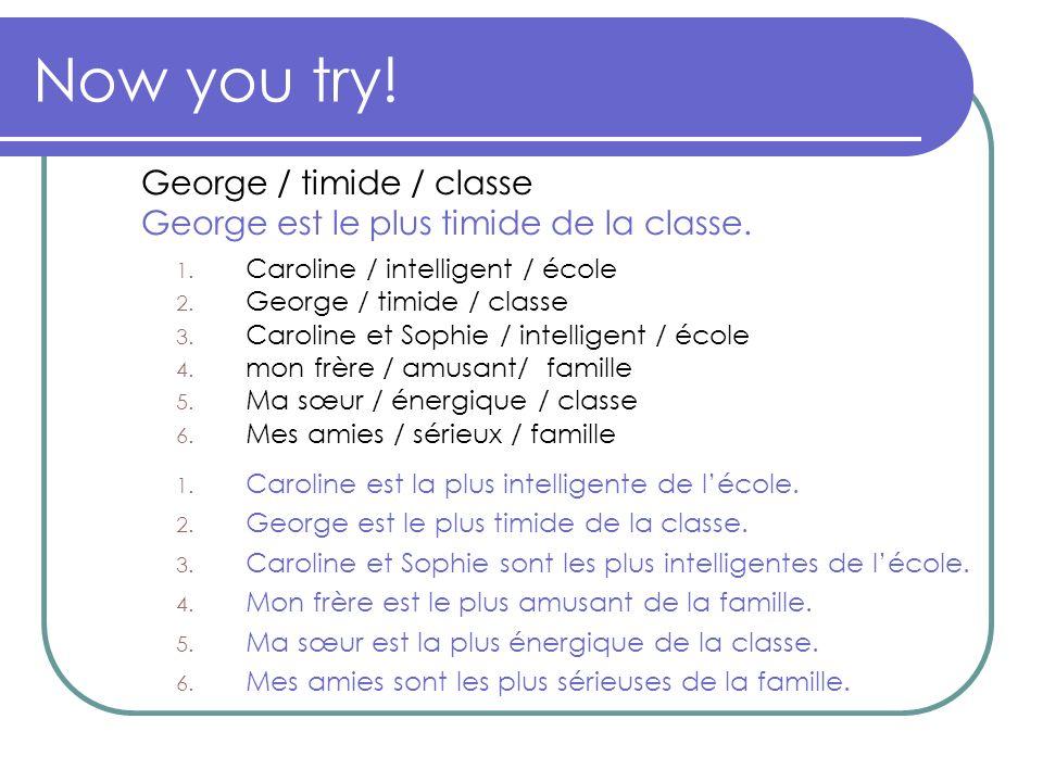 Now you try! 1. Caroline / intelligent / école 2. George / timide / classe 3. Caroline et Sophie / intelligent / école 4. mon frère / amusant/ famille