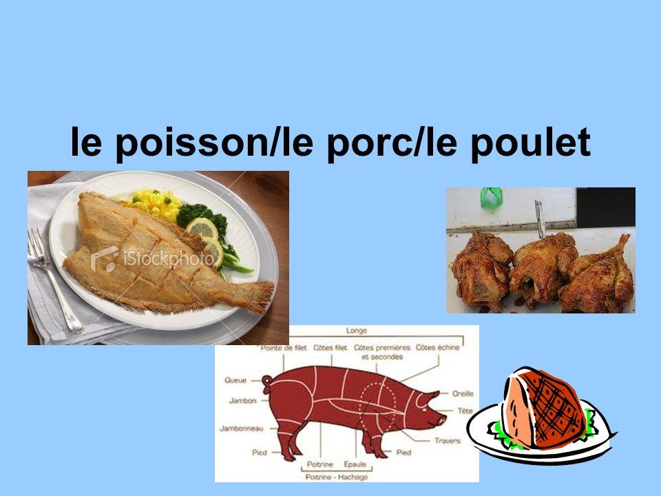 le poisson/le porc/le poulet