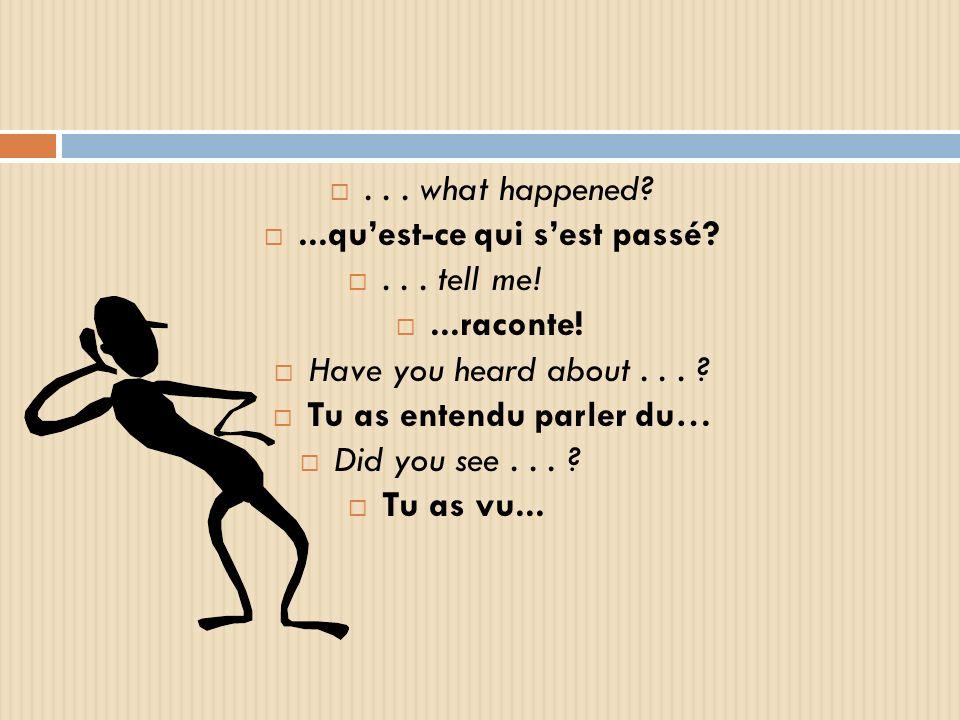 ... what happened?...quest-ce qui sest passé?... tell me!...raconte! Have you heard about... ? Tu as entendu parler du… Did you see... ? Tu as vu...