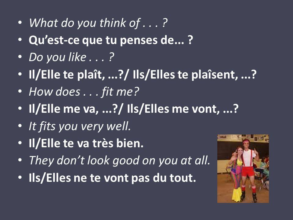 What do you think of... ? Quest-ce que tu penses de... ? Do you like... ? Il/Elle te plaît,...?/ Ils/Elles te plaîsent,...? How does... fit me? Il/Ell