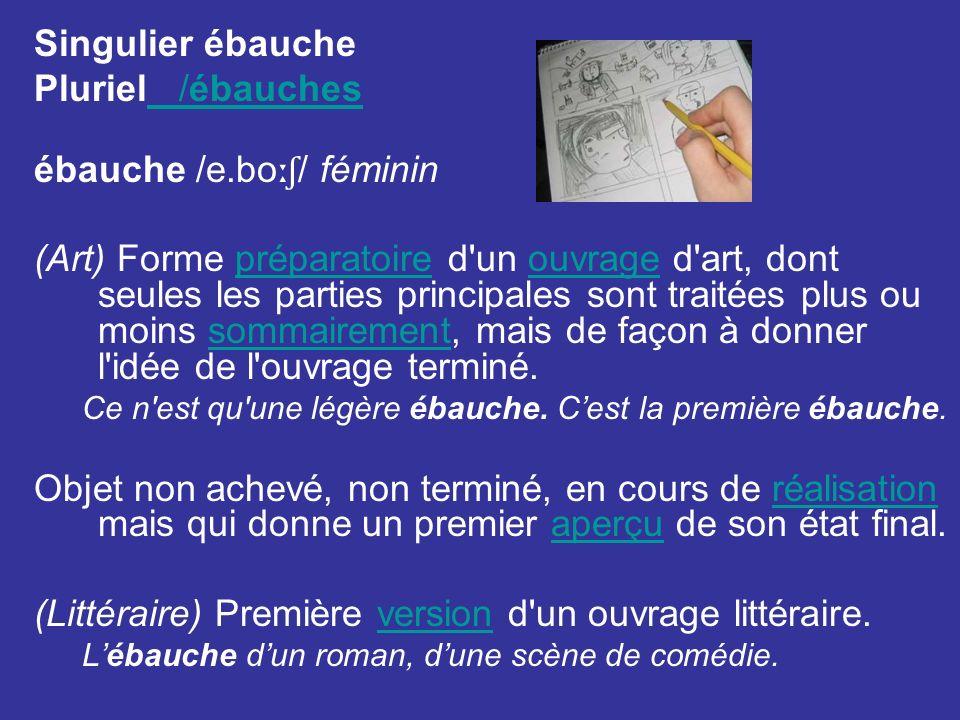 Singulier ébauche Pluriel /ébauches /ébauches ébauche /e.bo ːʃ / féminin (Art) Forme préparatoire d'un ouvrage d'art, dont seules les parties principa