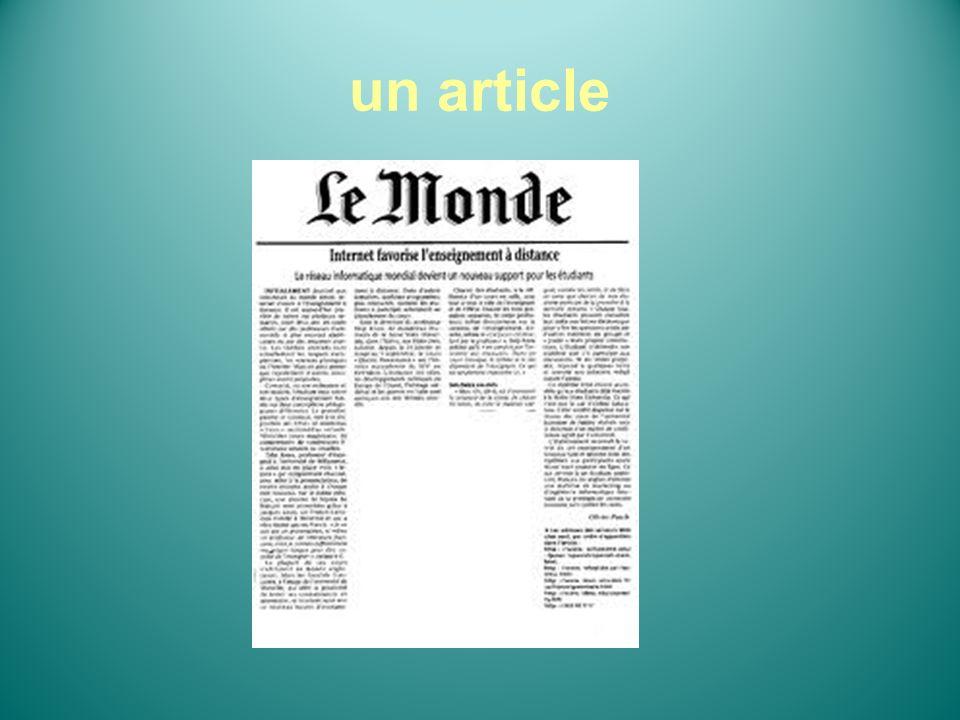 (specialized) press la presse (spécialisée) A journal une revue