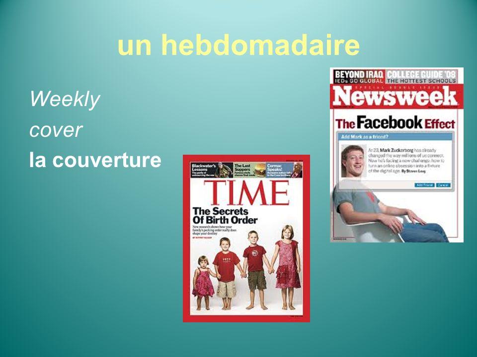 un hebdomadaire Weekly cover la couverture