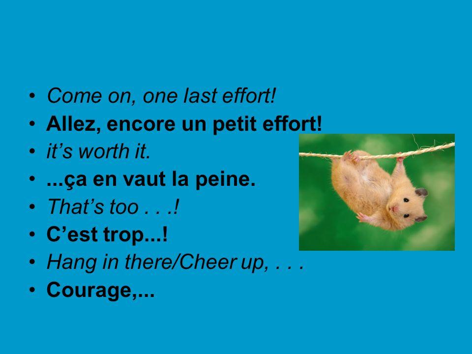 Come on, one last effort! Allez, encore un petit effort! its worth it....ça en vaut la peine. Thats too...! Cest trop...! Hang in there/Cheer up,... C