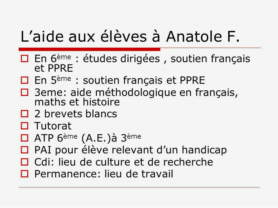 Laide aux élèves à Anatole F.