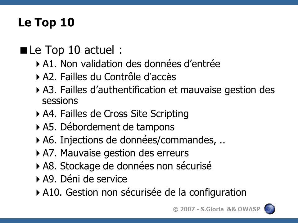 © 2007 - S.Gioria && OWASP Le Top 10 Le Top 10 actuel : A1.