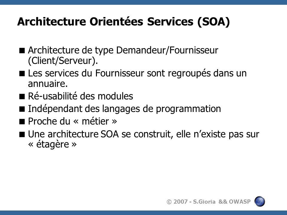 © 2007 - S.Gioria && OWASP Architecture Orientées Services (SOA) Architecture de type Demandeur/Fournisseur (Client/Serveur).