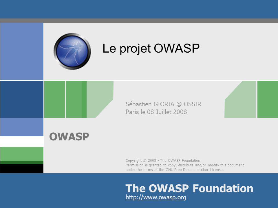 © 2008 - S.Gioria && OWASP Agenda LOWASP Les publications de lOWASP Les outils Le Top 10