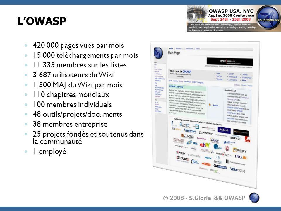 © 2008 - S.Gioria && OWASP LOWASP 420 000 pages vues par mois 15 000 téléchargements par mois 11 335 membres sur les listes 3 687 utilisateurs du Wiki