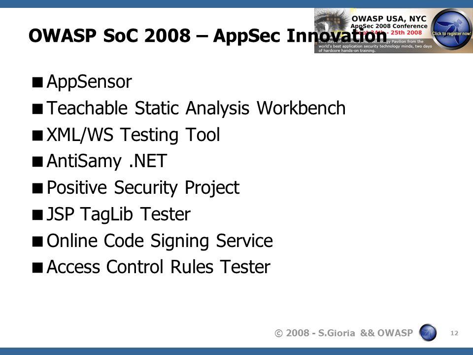 © 2008 - S.Gioria && OWASP OWASP SoC 2008 – AppSec Innovation AppSensor Teachable Static Analysis Workbench XML/WS Testing Tool AntiSamy.NET Positive