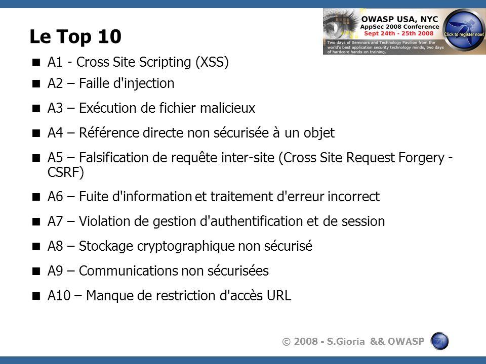 © 2008 - S.Gioria && OWASP Le Top 10 A1 - Cross Site Scripting (XSS) A2 – Faille d'injection A3 – Exécution de fichier malicieux A4 – Référence direct