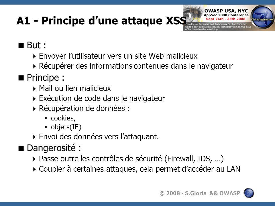 © 2008 - S.Gioria && OWASP A1 - Principe dune attaque XSS But : Envoyer lutilisateur vers un site Web malicieux Récupérer des informations contenues d
