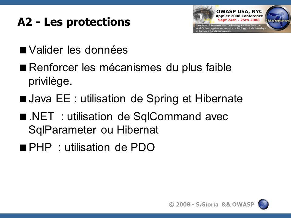 © 2008 - S.Gioria && OWASP A2 - Les protections Valider les données Renforcer les mécanismes du plus faible privilège. Java EE : utilisation de Spring