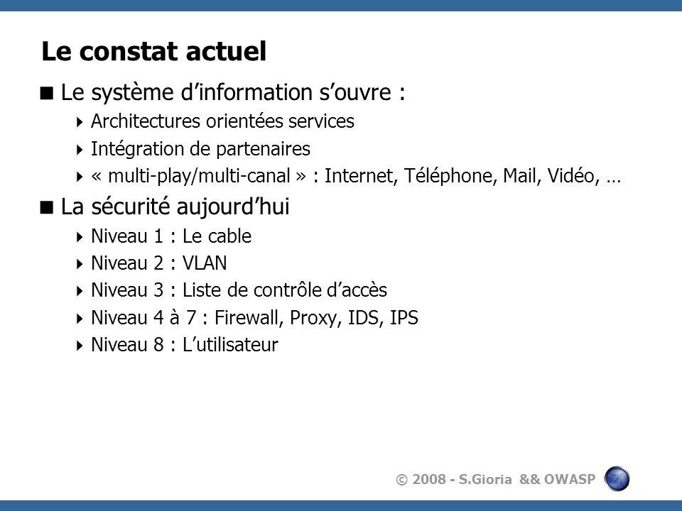© 2008 - S.Gioria && OWASP A1 - Principe dune attaque XSS But : Envoyer lutilisateur vers un site Web malicieux Récupérer des informations contenues dans le navigateur Principe : Mail ou lien malicieux Exécution de code dans le navigateur Récupération de données : cookies, objets(IE) Envoi des données vers lattaquant.