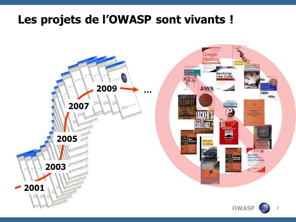 OWASP 7 Les projets de lOWASP sont vivants ! 2001 2003 2005 2007 2009 …