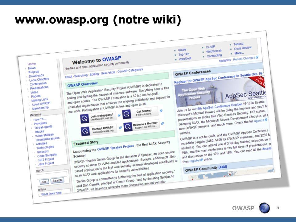 OWASP Les chiffres de lOWASP 420,000 pages vues par mois 15,000 téléchargements par mois (uniquement sur SourceForge) 10,000 membres sur les mailing lists 2,600 utilisateurs du wiki 1,500 mises a jour du wiki par mois 89 chapitres internationaux 75 membres individuels 38 projets doutils et de documentation 28 membres institutionnels 25 nouveaux projets fondés graçe à travers le Spring of Code 0 employés 9