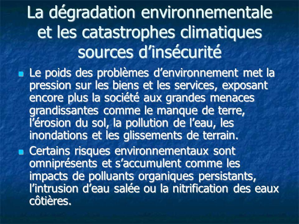 La dégradation environnementale et les catastrophes climatiques sources dinsécurité Le poids des problèmes denvironnement met la pression sur les bien