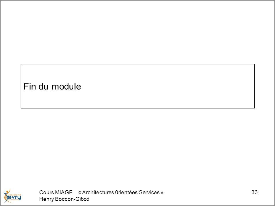 Cours MIAGE « Architectures 0rientées Services » Henry Boccon-Gibod 33 Fin du module