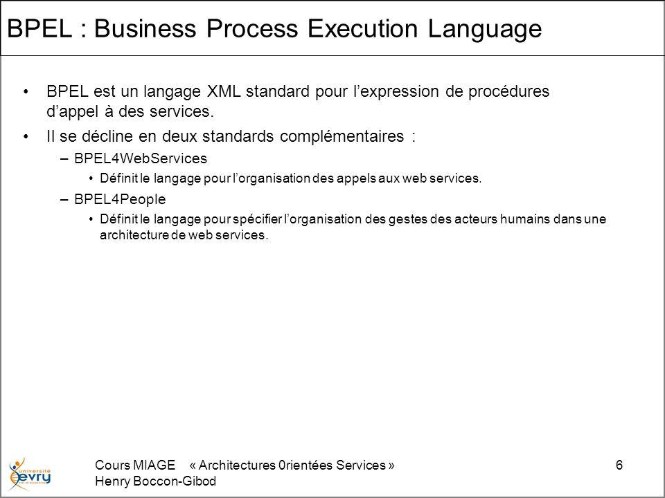 Cours MIAGE « Architectures 0rientées Services » Henry Boccon-Gibod 6 BPEL : Business Process Execution Language BPEL est un langage XML standard pour lexpression de procédures dappel à des services.