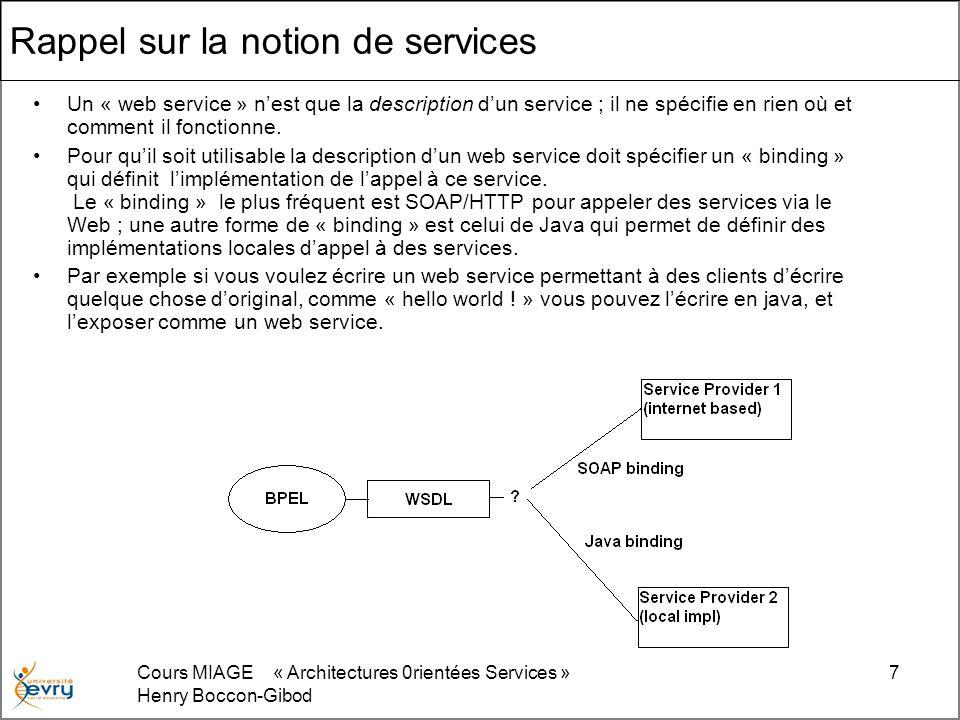 Cours MIAGE « Architectures 0rientées Services » Henry Boccon-Gibod 8 Option darchitecture Ordinairement BPEL est un langage de programmation coté serveur: –déployé pour servir et suivre une requête venue coté client –Déployé comme une sorte de Proxy commode pour un ensemble dapplications anciennes Dans les deux cas lenchaînement typique des événements est: –Le web service client demande quelque chose au serveur, via un navigateur ou un autre serveur –La requête du client est reçue par le serveur de processus BPEL –La requête du client est identifiée comme une nouvelle instance du processus BPEL invoqué pour le servir –Le client continue à interagir avec le processus en cours avec des échanges mutuels de messages selon lorganisation du processus, jusquà achèvement de celui-ci –Linstance du processus disparaît alors que le client achève son activité